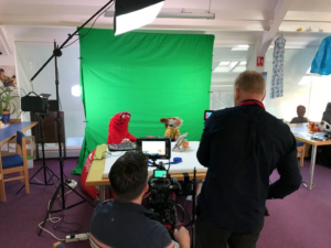 SID TV 2018 Safer Internet Day. Gareth and Chris filming puppets Red and Murphy from SID TV.
