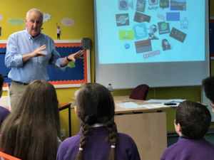 Sid TV Safer Internet Day 2018. Peter from the Safer Internet Centre teaching school children about online safety.