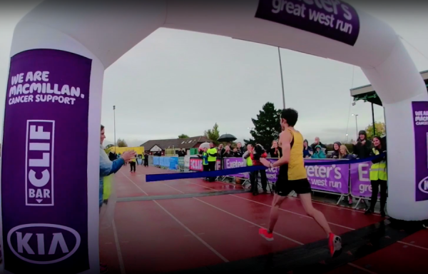 A still of the winning runner from Great West Run video