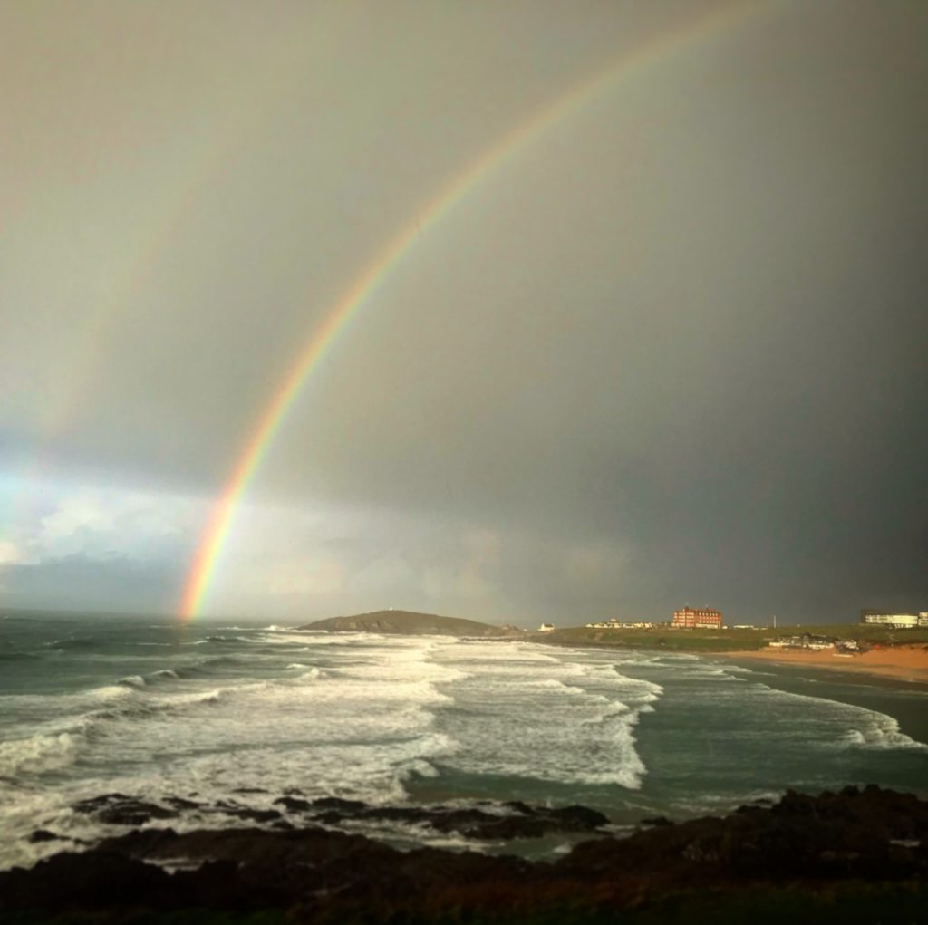 Rainbow over 2020 Visit Cornwall Tourism Summit venue The Headland Hotel