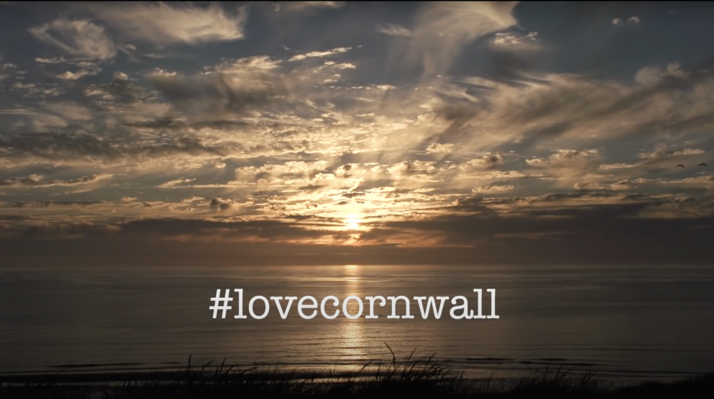 screen shot of the Visit Cornwall sunset from come back later video which went viral