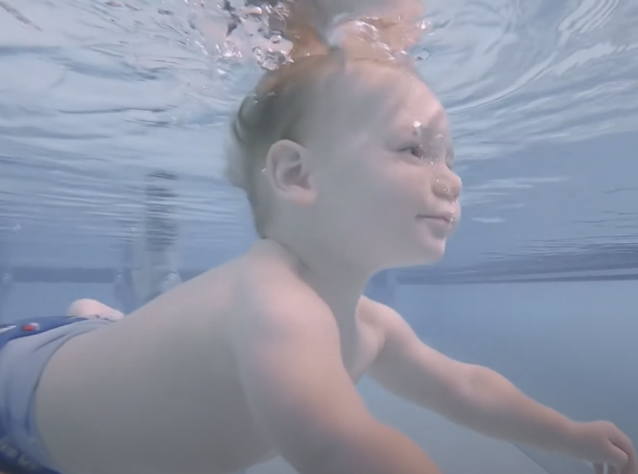 Picture of a baby swimming, used during the video production for TurtleTots in Plymouth