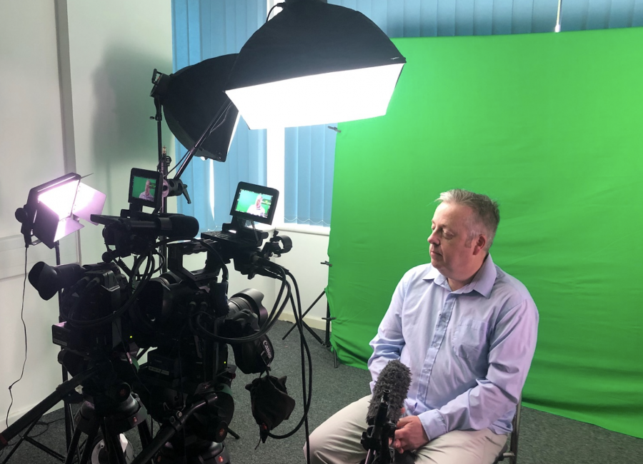 The plymouth video production studio with interviewee for our international client Spiegel