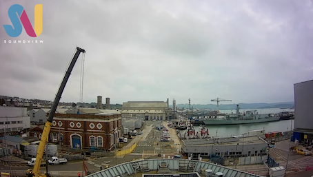 A screenshot from time lapse video of HMS Bulwark docking for Babcock Engineering work by Plymouth video production company Soundview.