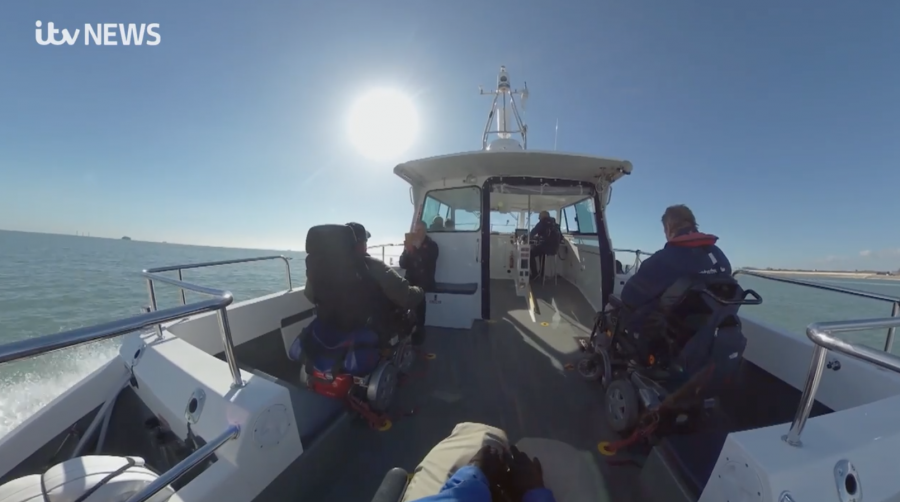 still from the video of the Wetwheels VR launch video on board a powerboat in the Solent