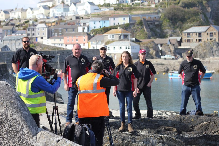 Soundview Plymouth and Cornwall video production company on location filming for new Visit Cornwall videos at Mevagissey with shanty group- he Stuns'ls