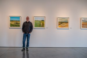 Kurt Jackson in his seen gallery on location for new Visit Cornwall videos