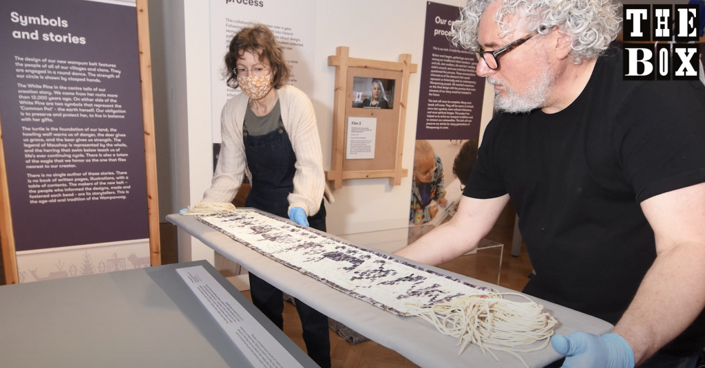 wampum exhibiton being prepared at The Box Plymouth